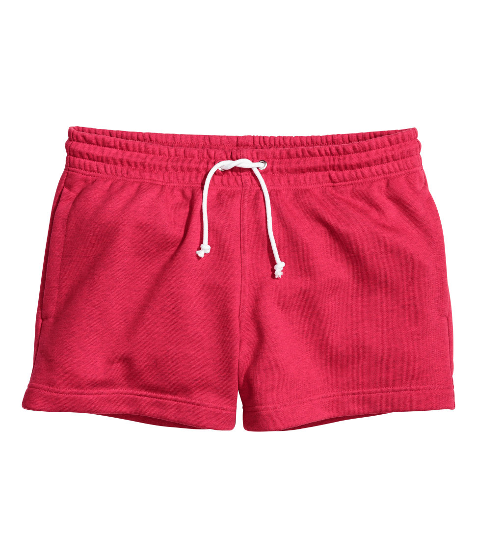 H&m Short Sweatshirt Shorts in Red for Men | Lyst