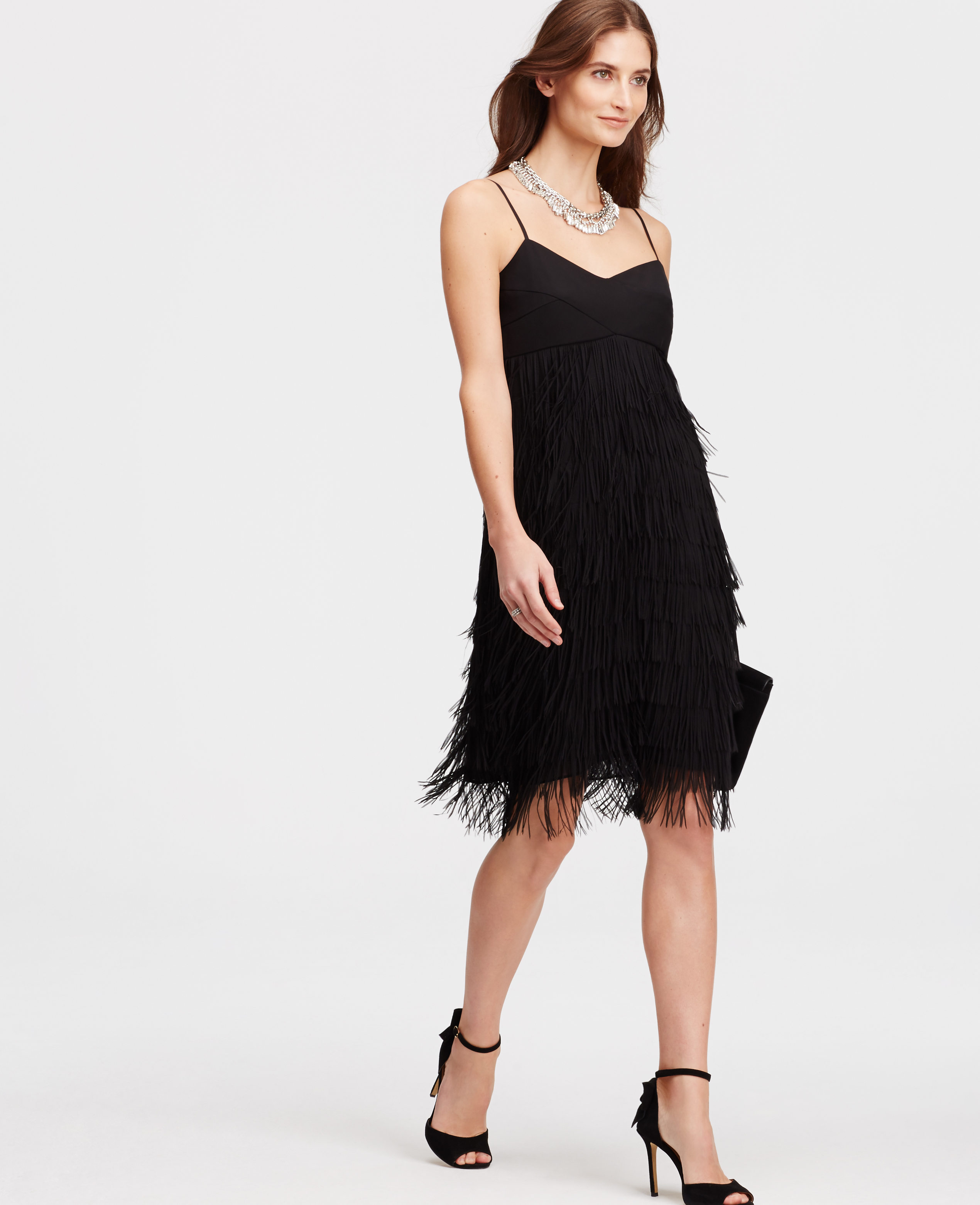 Lyst - Ann Taylor Strappy Fringe Dress in Black