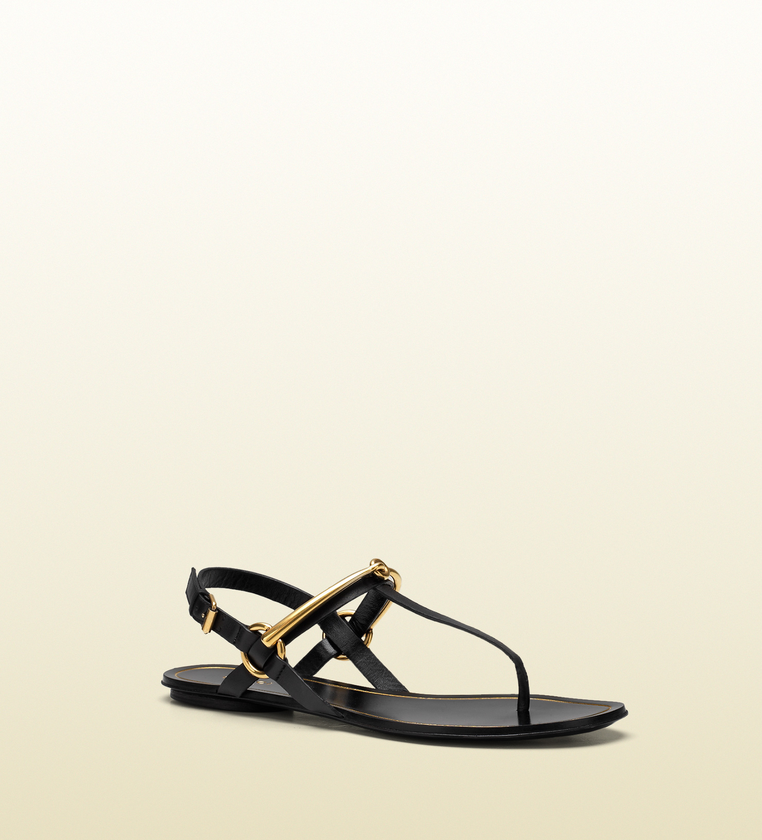 55020aa318ad65 Lyst - Gucci Tess Leather Horsebit Thong Sandal in Black for Men
