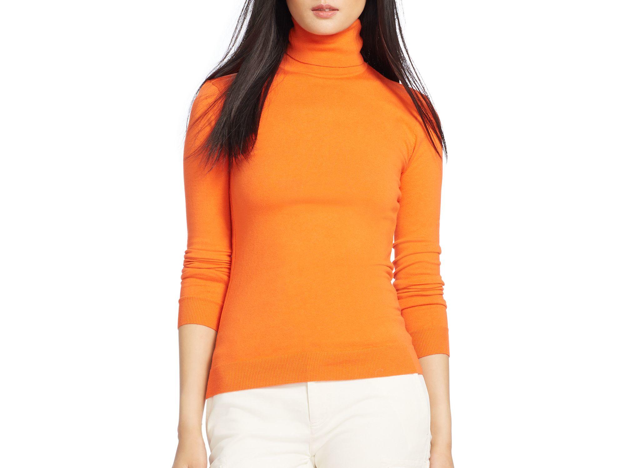 Pink pony Lauren Silk-cotton Turtleneck Sweater in Orange | Lyst