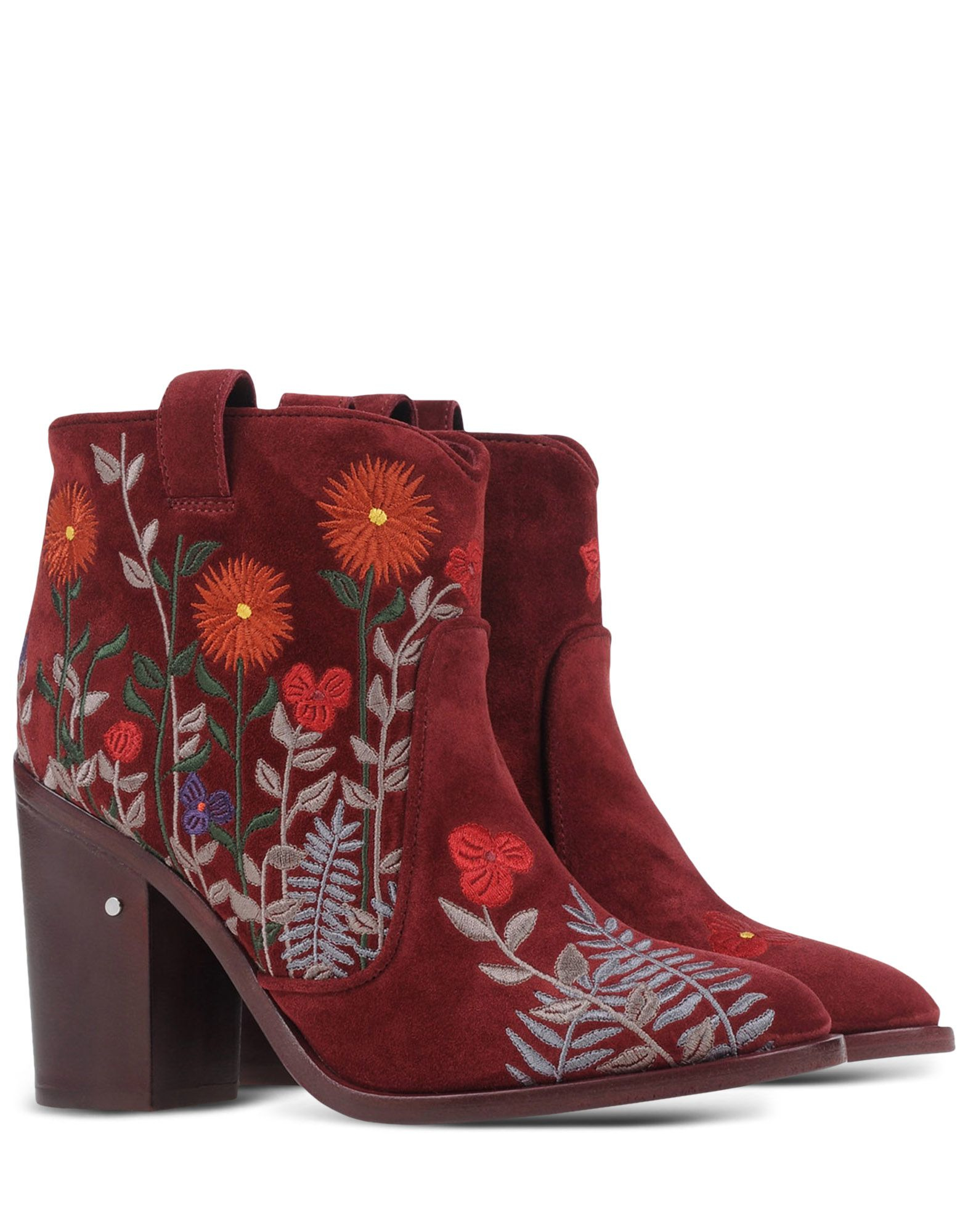 laurence dacade floral embroidered suede boots in purple