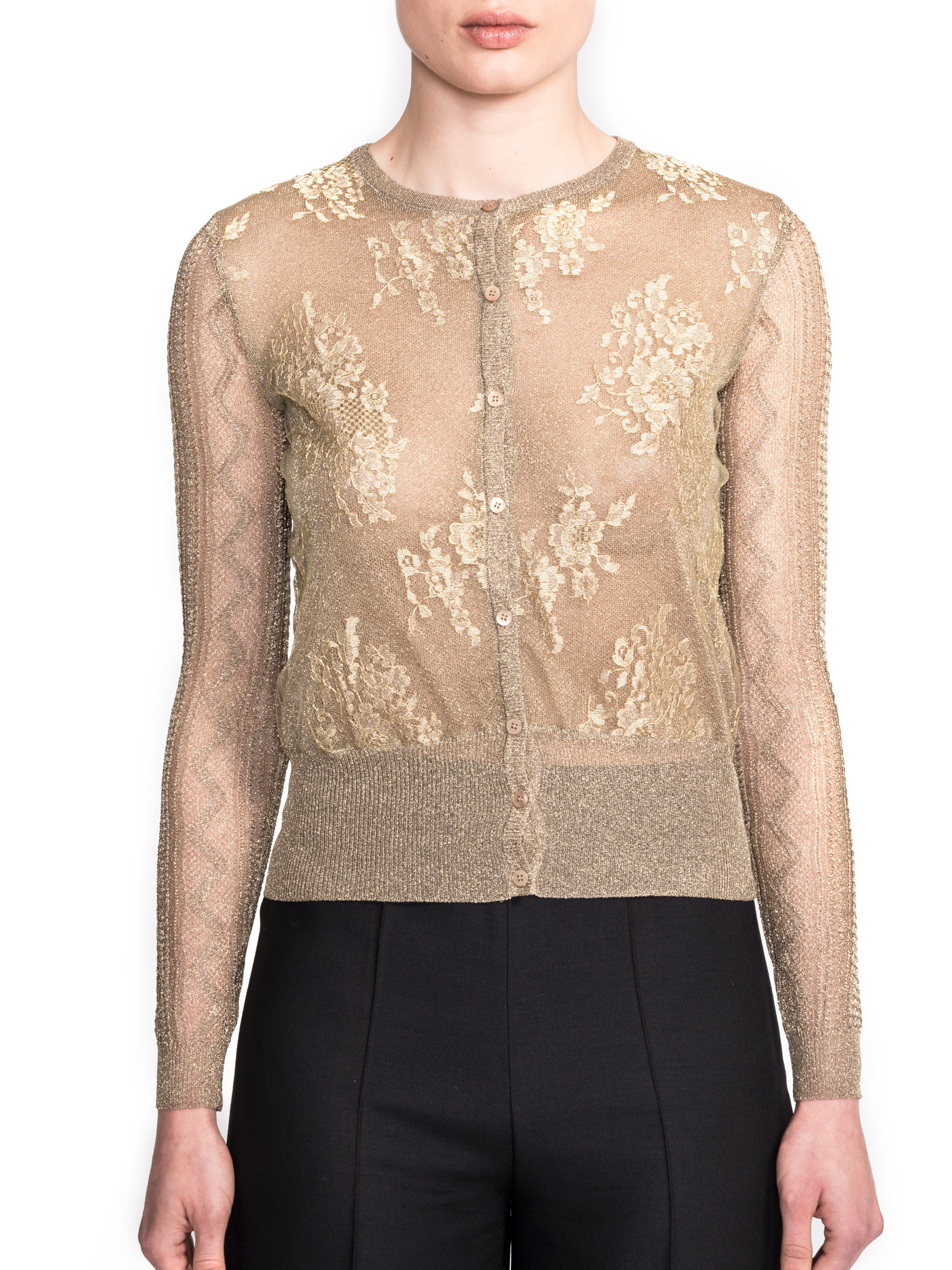 Valentino Multi-stitch Metallic Cardigan in Metallic | Lyst