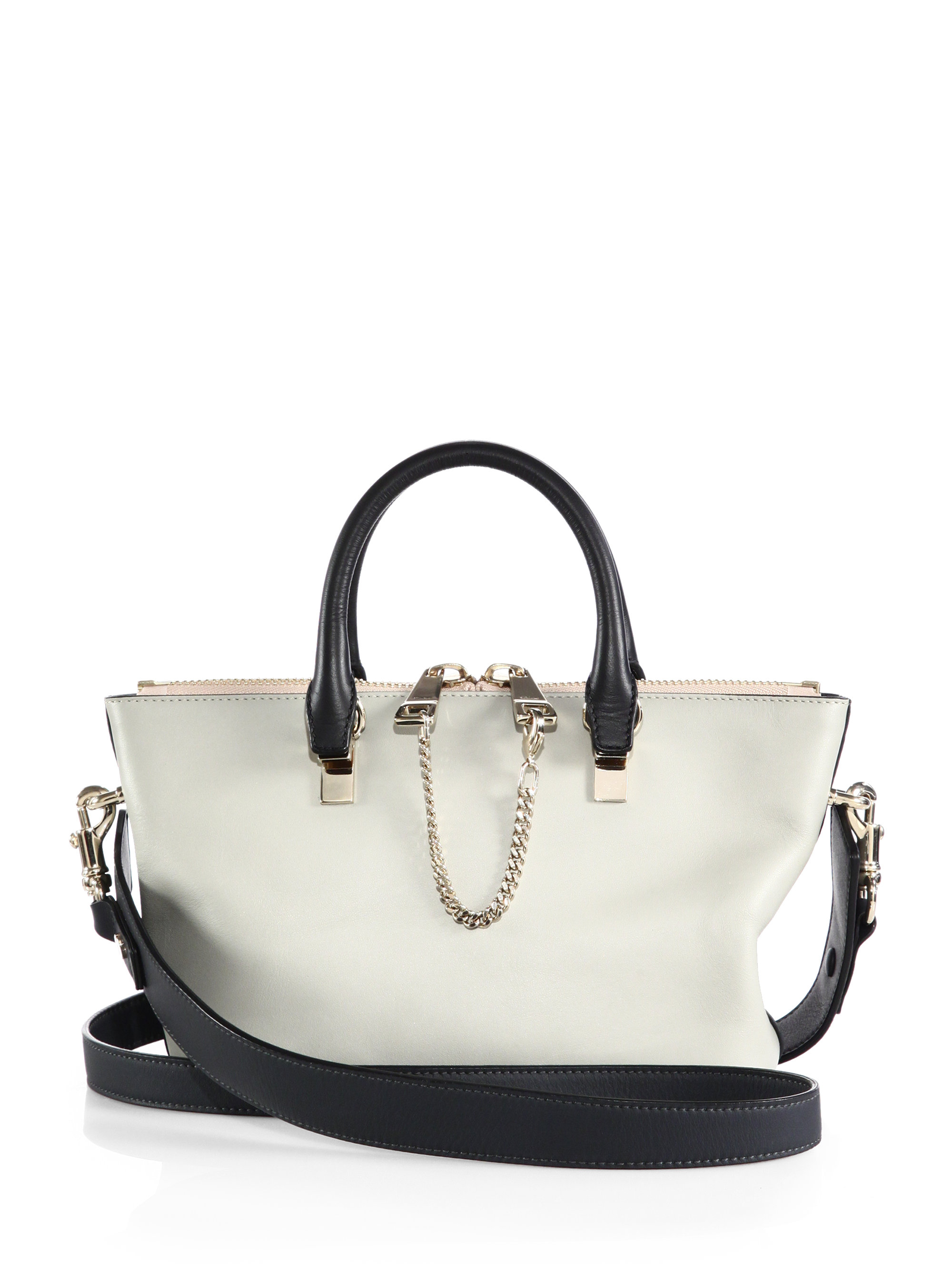 Chlo�� Baylee Mini Bicolor Shoulder Bag in Beige (MARSHMALLOW) | Lyst