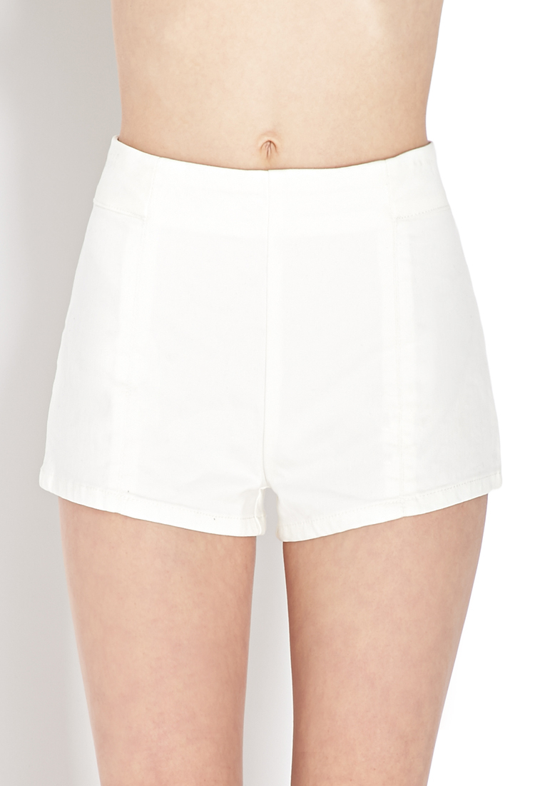 Forever 21 High-rise Denim Shorts in White | Lyst