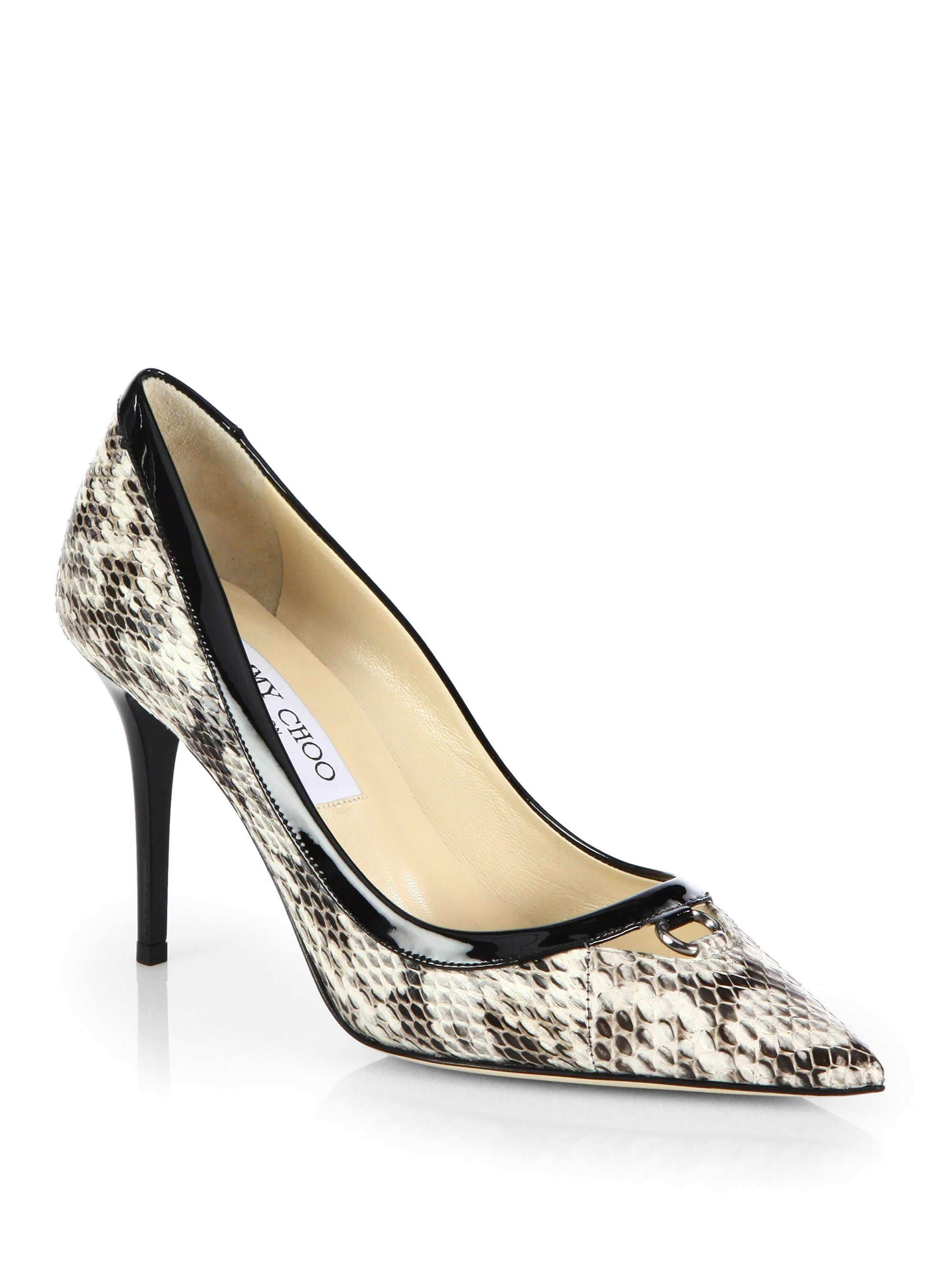 90925b29e7 Jimmy Choo Hype Snakeskin & Patent Leather Point Toe Pumps in Black ...