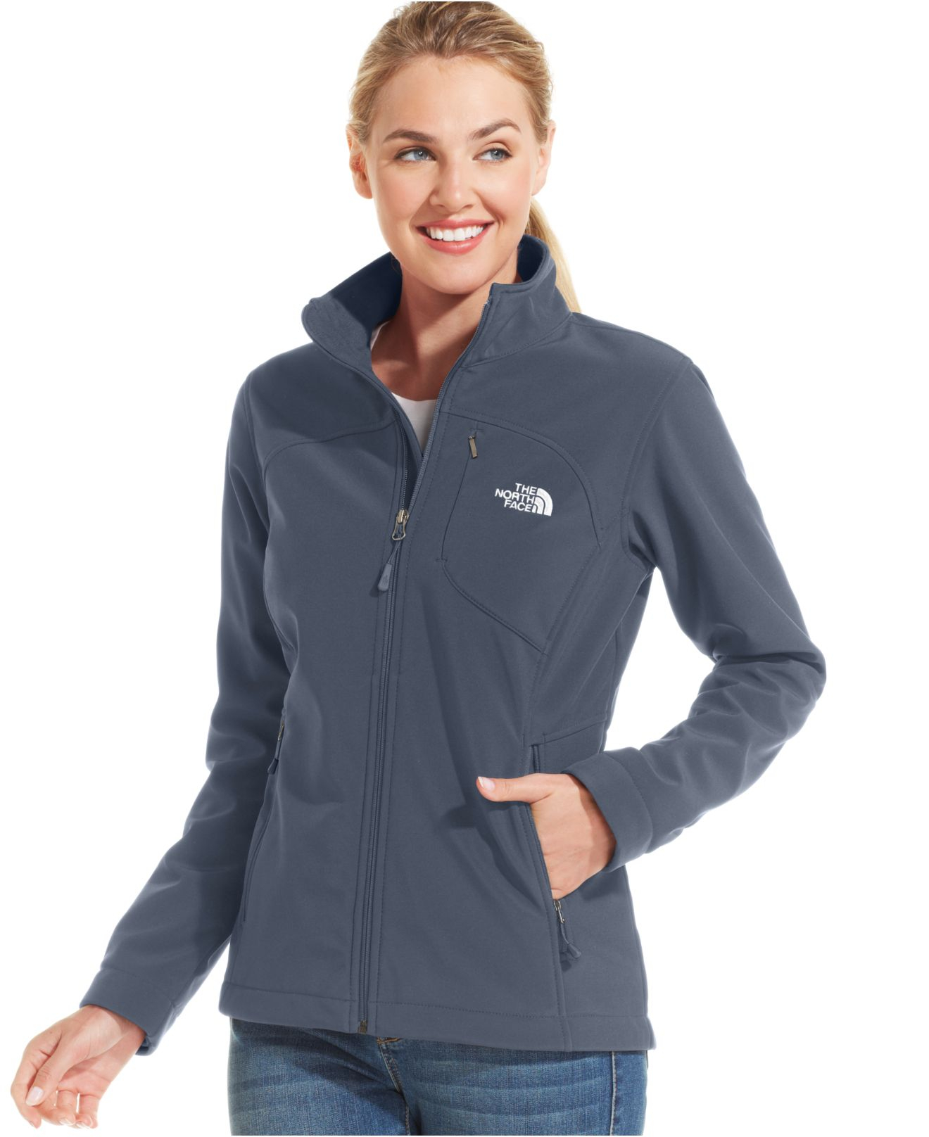 the north face apex bionic soft shell jacket in blue lyst. Black Bedroom Furniture Sets. Home Design Ideas