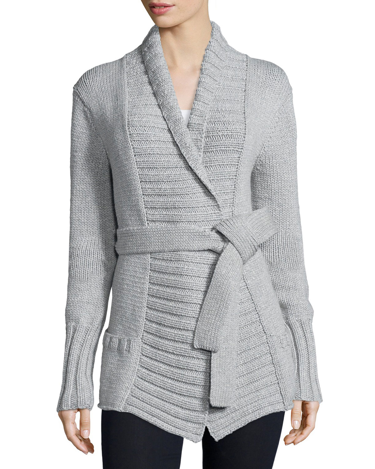 Michael kors Long-sleeve Belted Sweater in Gray | Lyst