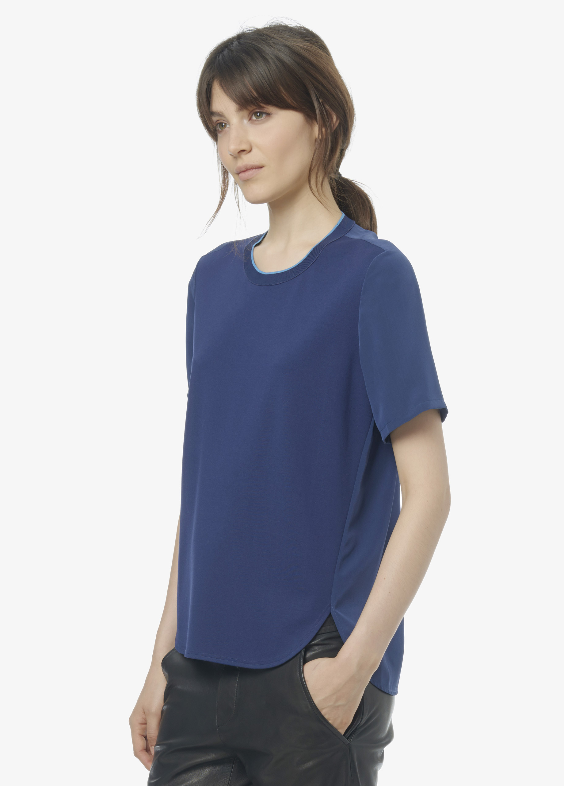 Vince mixed media tee with silk and contrast tipping in for Vince tee shirts sale
