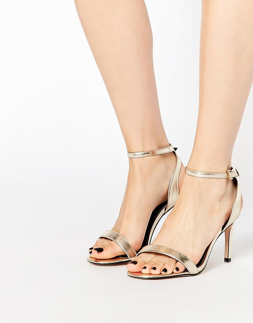 2b531b2b3da Lyst - ASOS Hooray Wide Fit Heeled Sandals in Natural