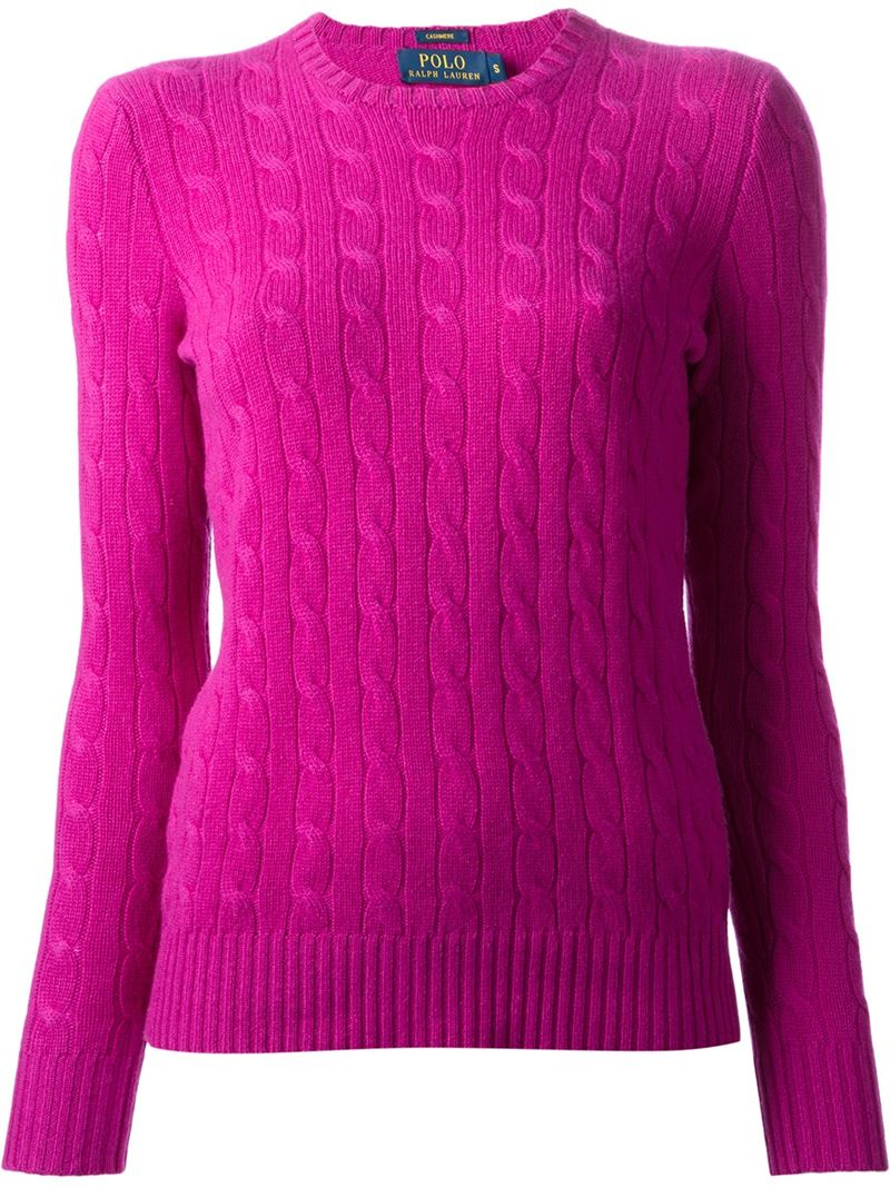 Polo ralph lauren Cable Knit Sweater in Pink | Lyst