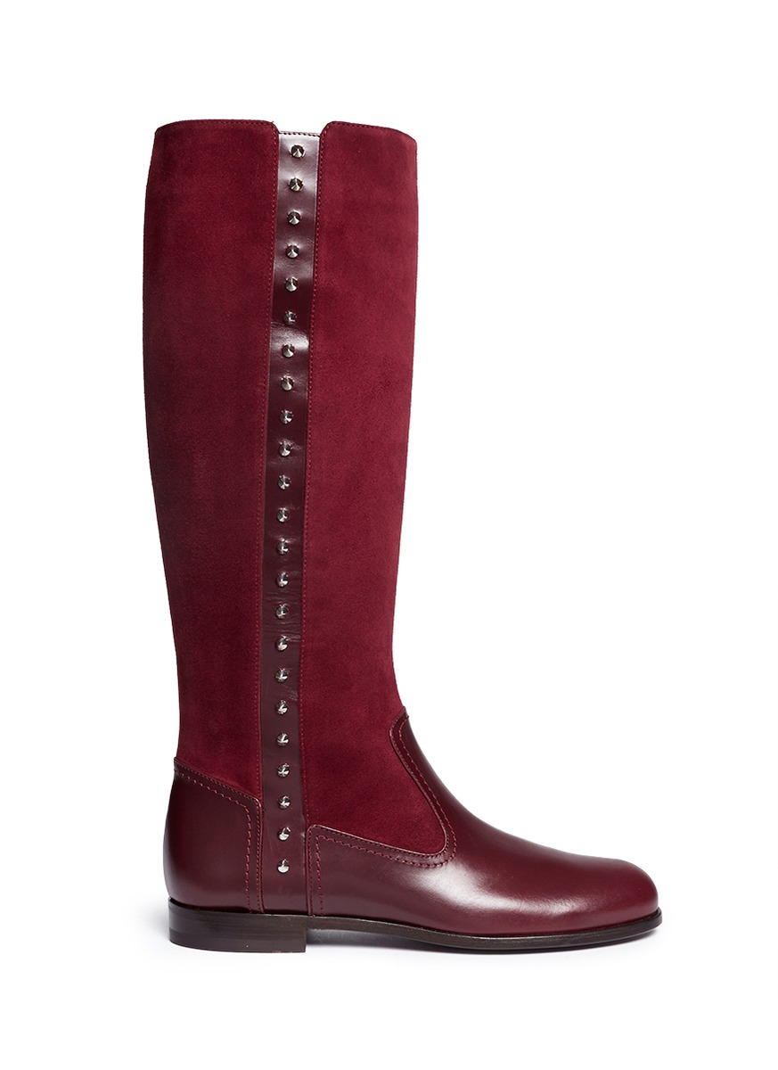 mcqueen stud suede leather boots in lyst