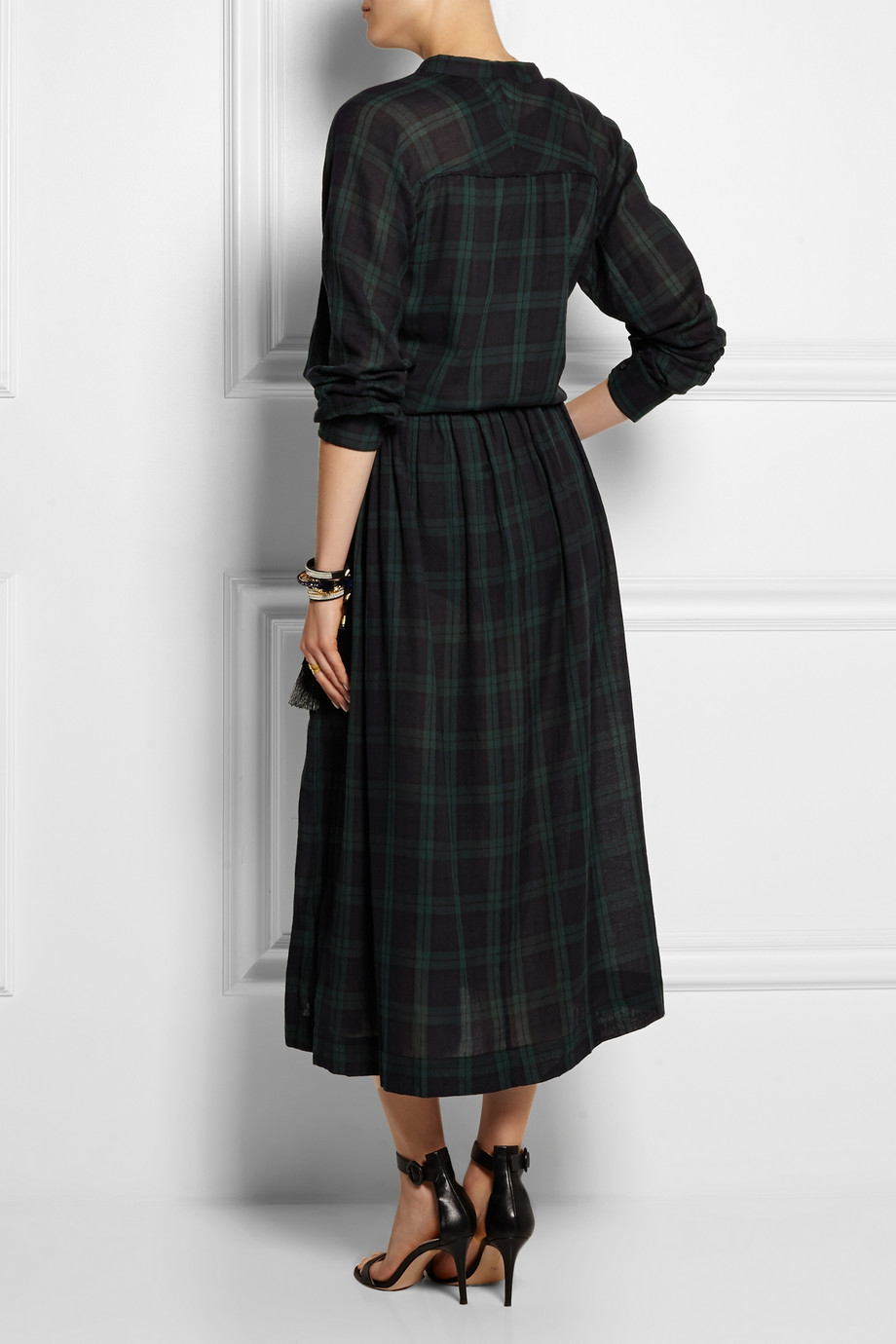 lyst toile isabel marant ivah plaid cotton midi dress in green. Black Bedroom Furniture Sets. Home Design Ideas