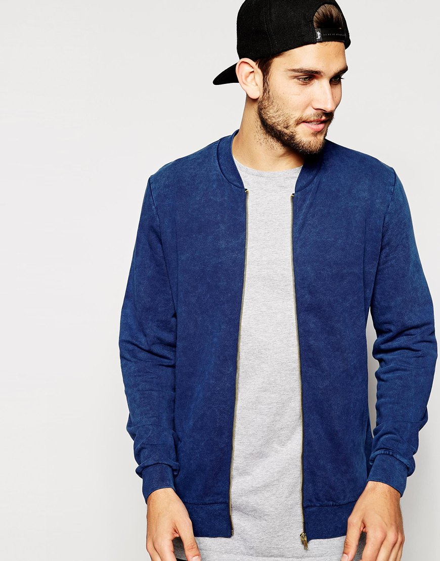 Asos Bomber Jacket In Jersey With Acid Wash in Blue for Men | Lyst