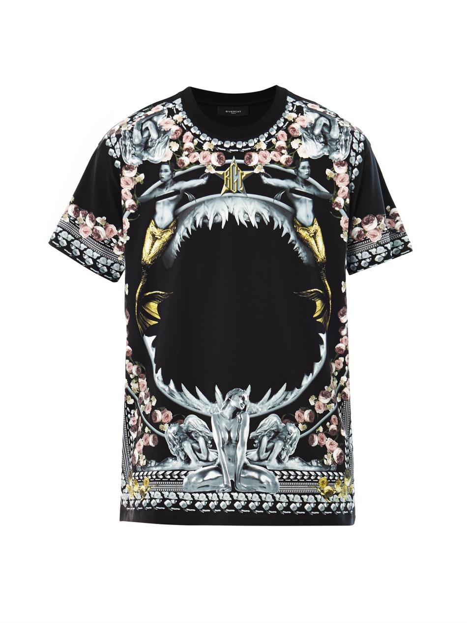 givenchy shark and mermaid oversized tshirt in black for men lyst. Black Bedroom Furniture Sets. Home Design Ideas