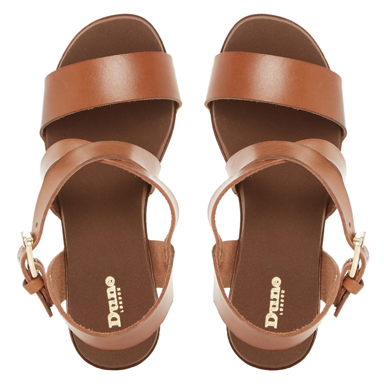 d21203dbbb8 Dune Jaxon Leather Block Heel Clog Sandals in Brown - Lyst