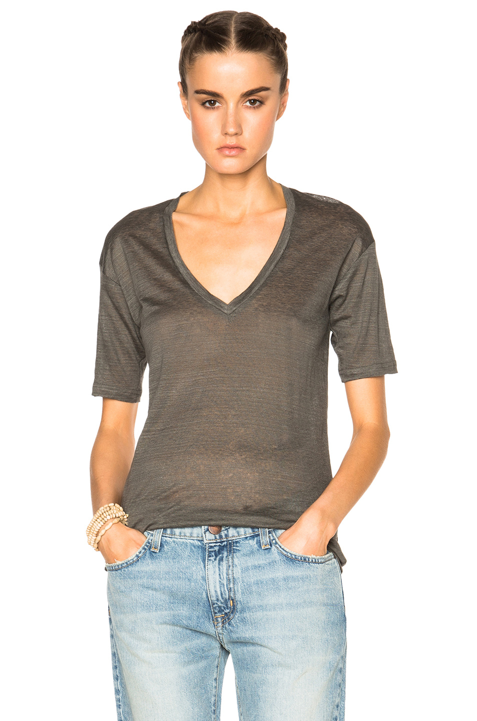 Isabel marant maree linen tee in gray lyst for Isabel marant t shirt sale