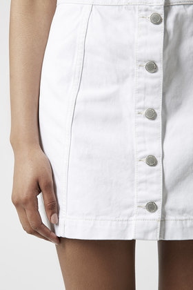 Topshop Moto Denim Button Front A-Line Skirt in White | Lyst