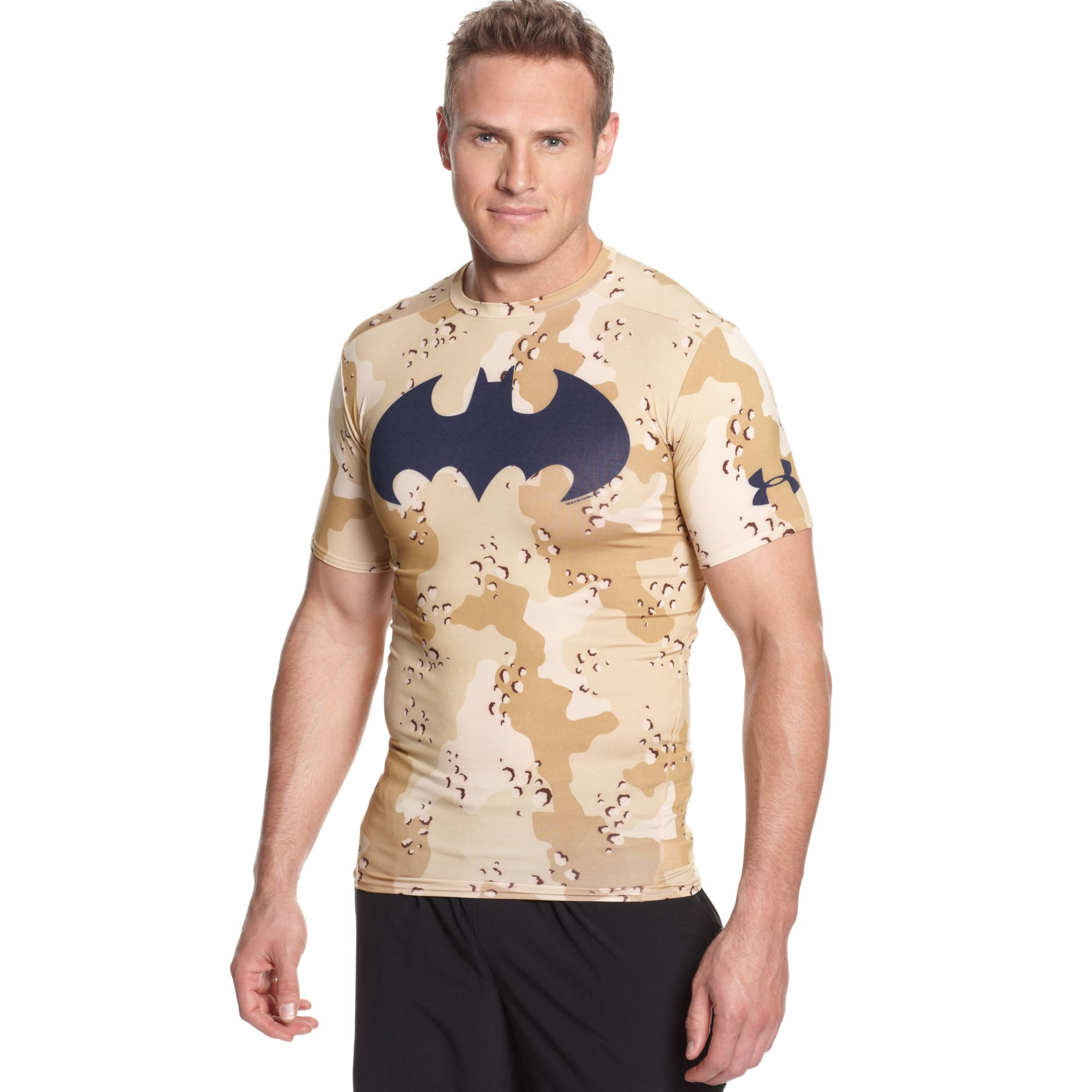 Under armour alter ego batman camouflage compression for Under armour brown t shirt