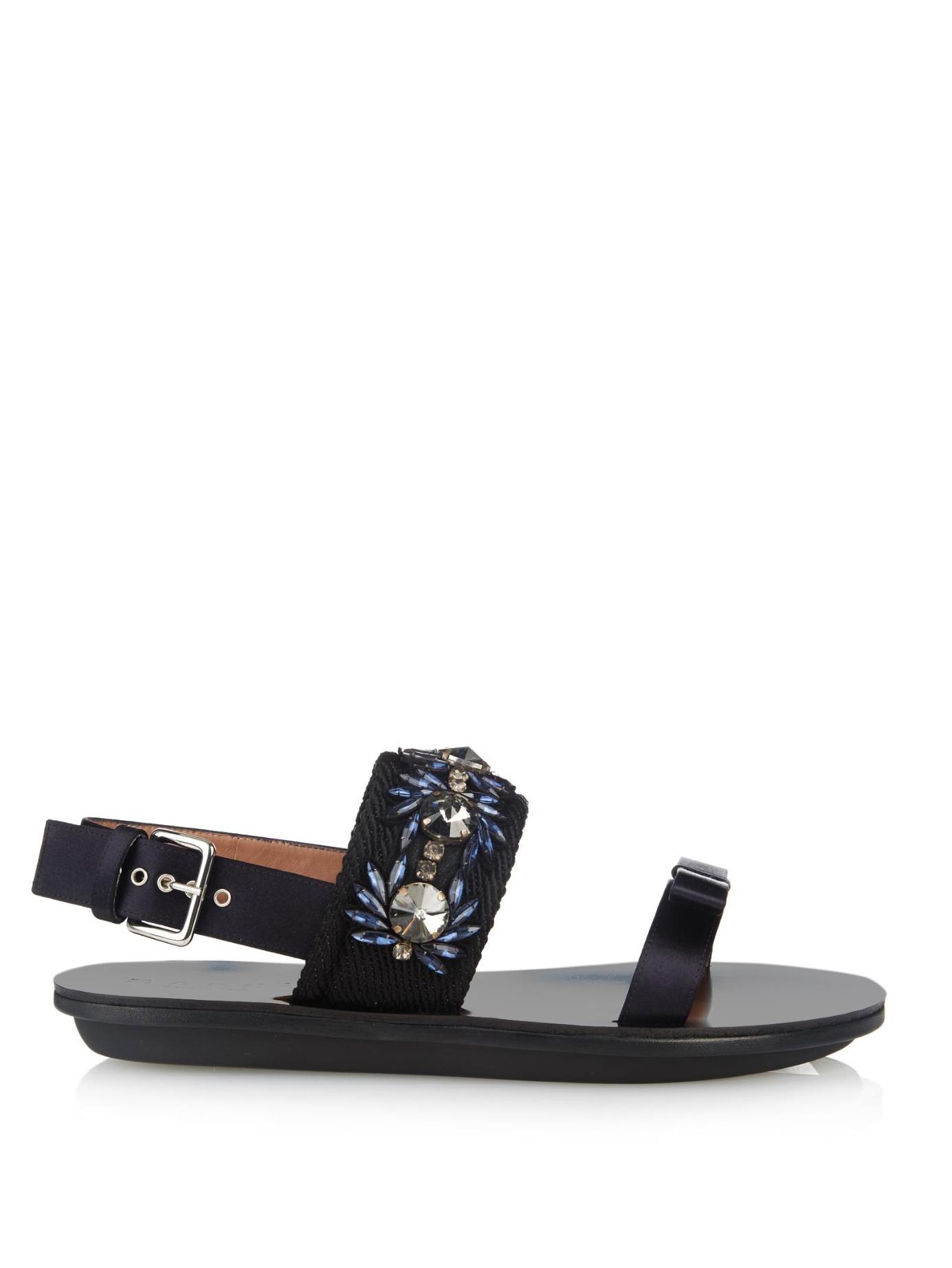 Satin and crystal sandal Marni 4KEsRVZ