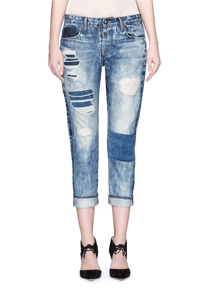 Tortoise Knit Patch Distressed Jeans in Blue | Lyst