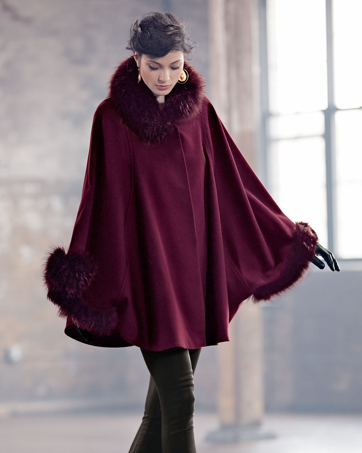 Sofia cashmere Fur-Trimmed Button-Front Cape Coat in Red | Lyst