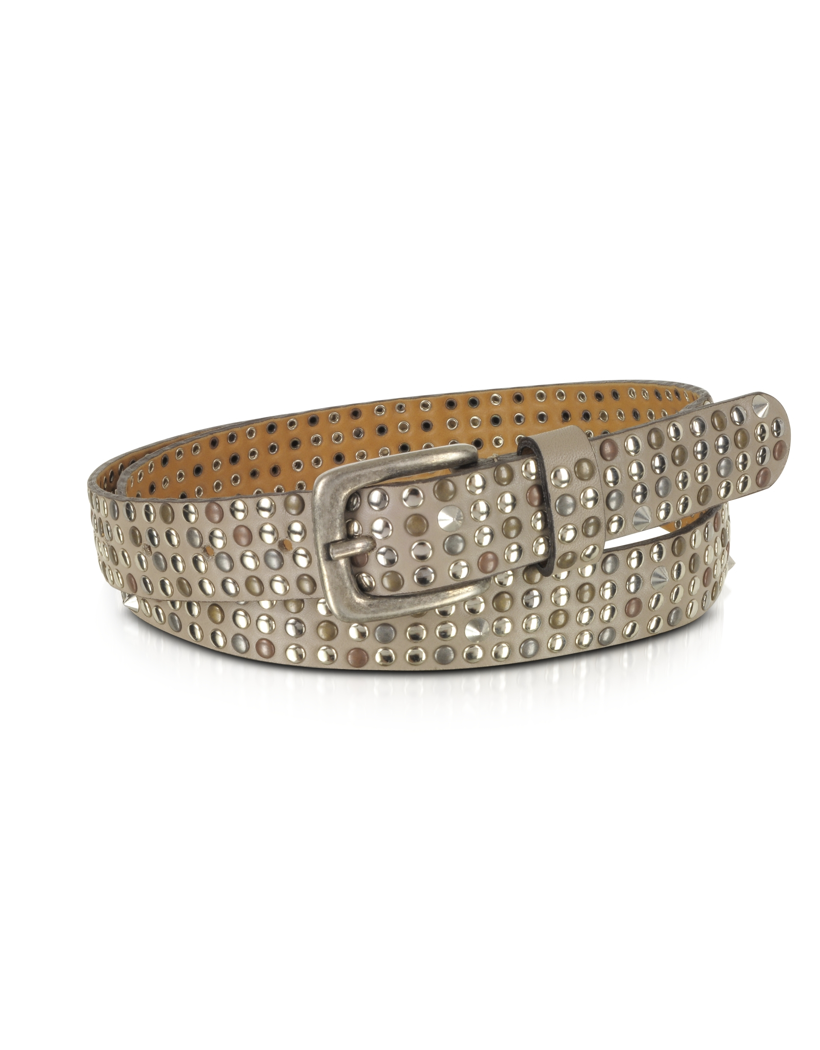 forzieri taupe studded leather belt in brown lyst