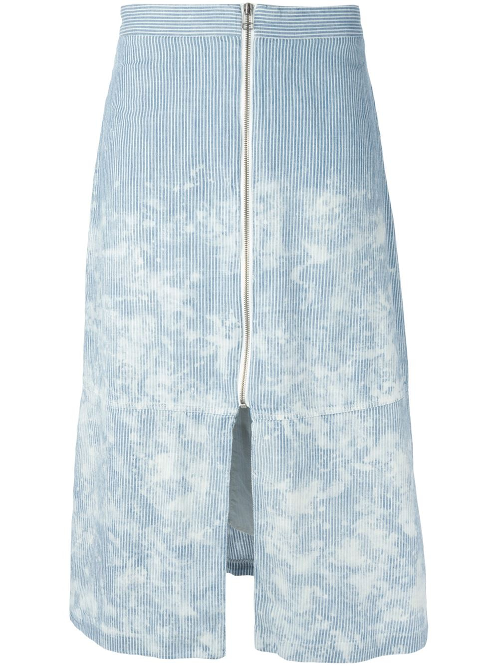 sea striped zip front denim skirt in blue lyst