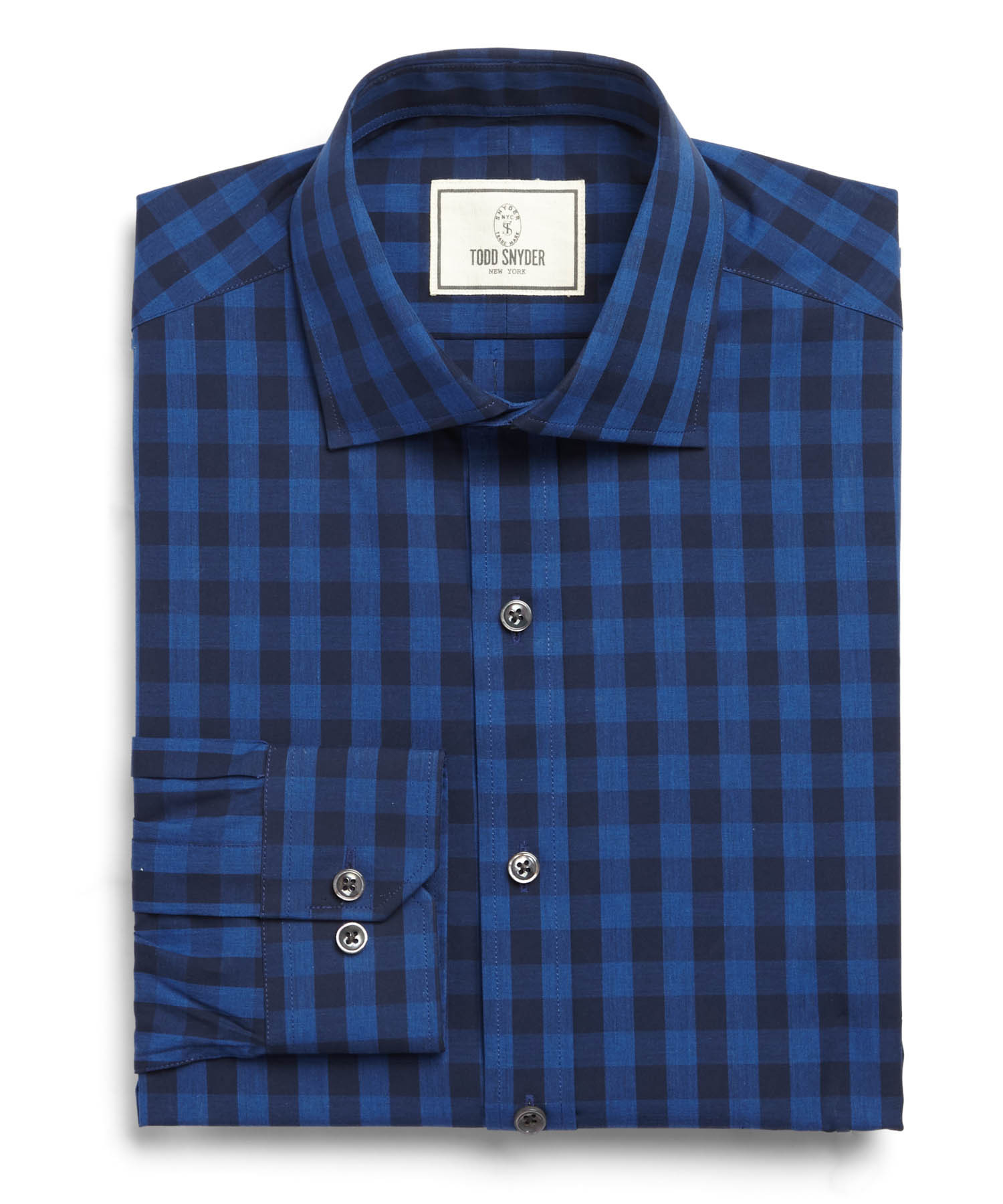 Todd Snyder Spread Collar Dress Shirt In Navy Plaid In