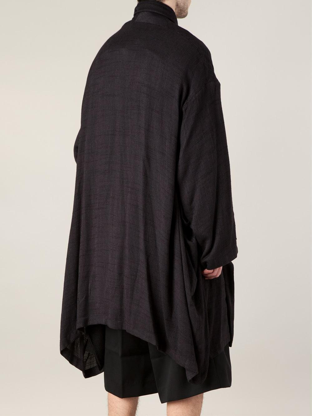 Yohji Yamamoto Draped Coat In Black For Men Lyst