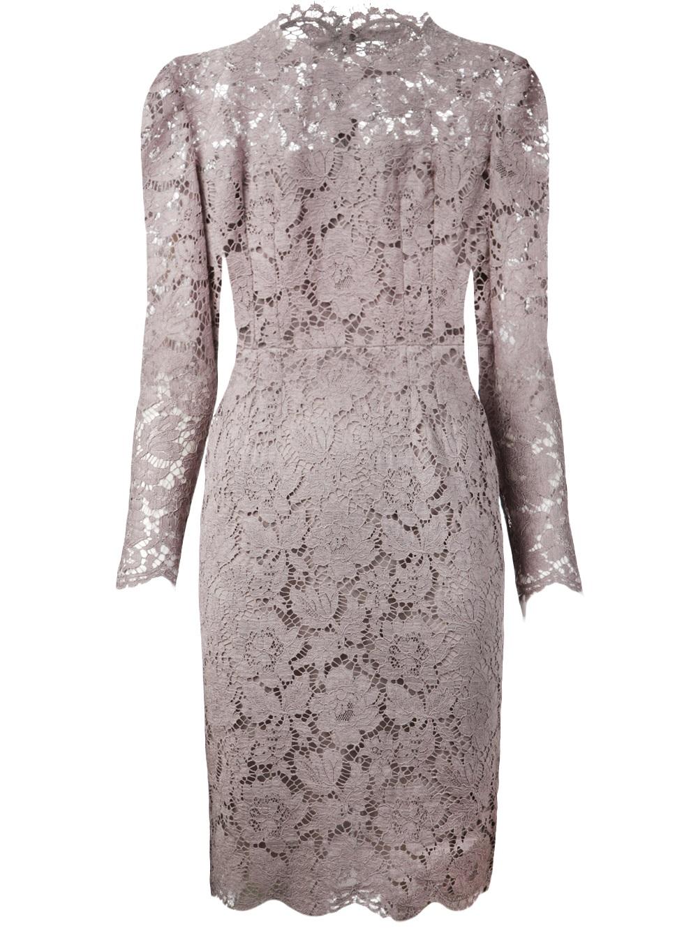 Lyst Valentino Scallop Lace Sheath Dress In Gray