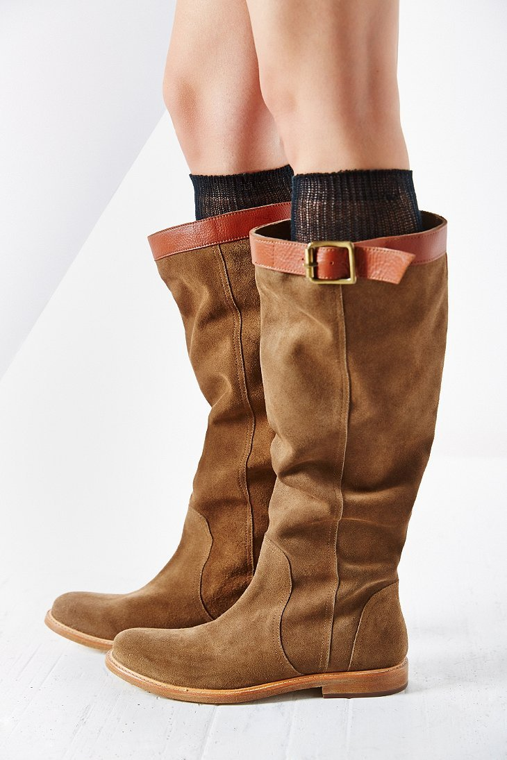 Ecote Suede Slouch Tall Boot in Natural | Lyst