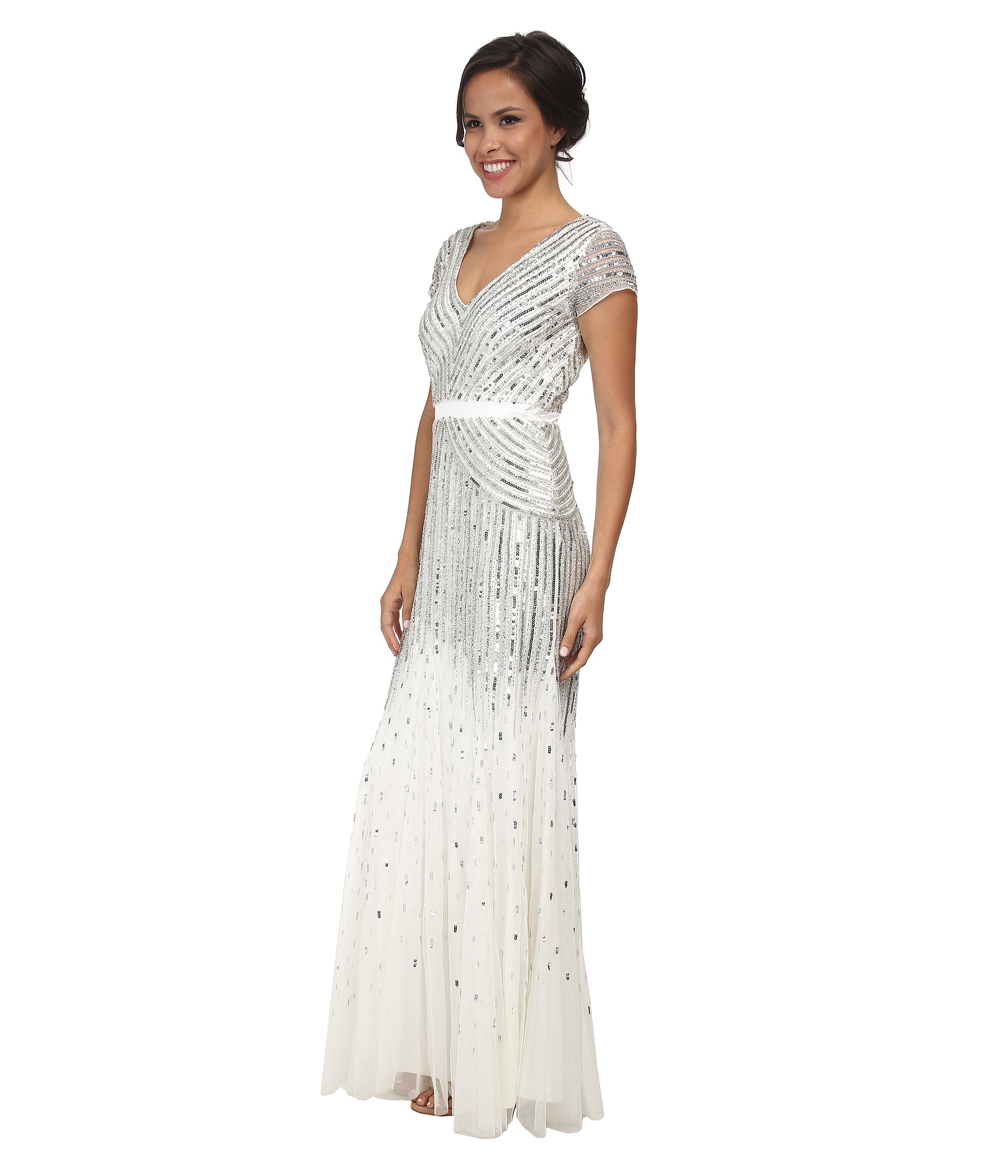 Lyst - Adrianna Papell Cap Sleeve Beaded Gown in Metallic