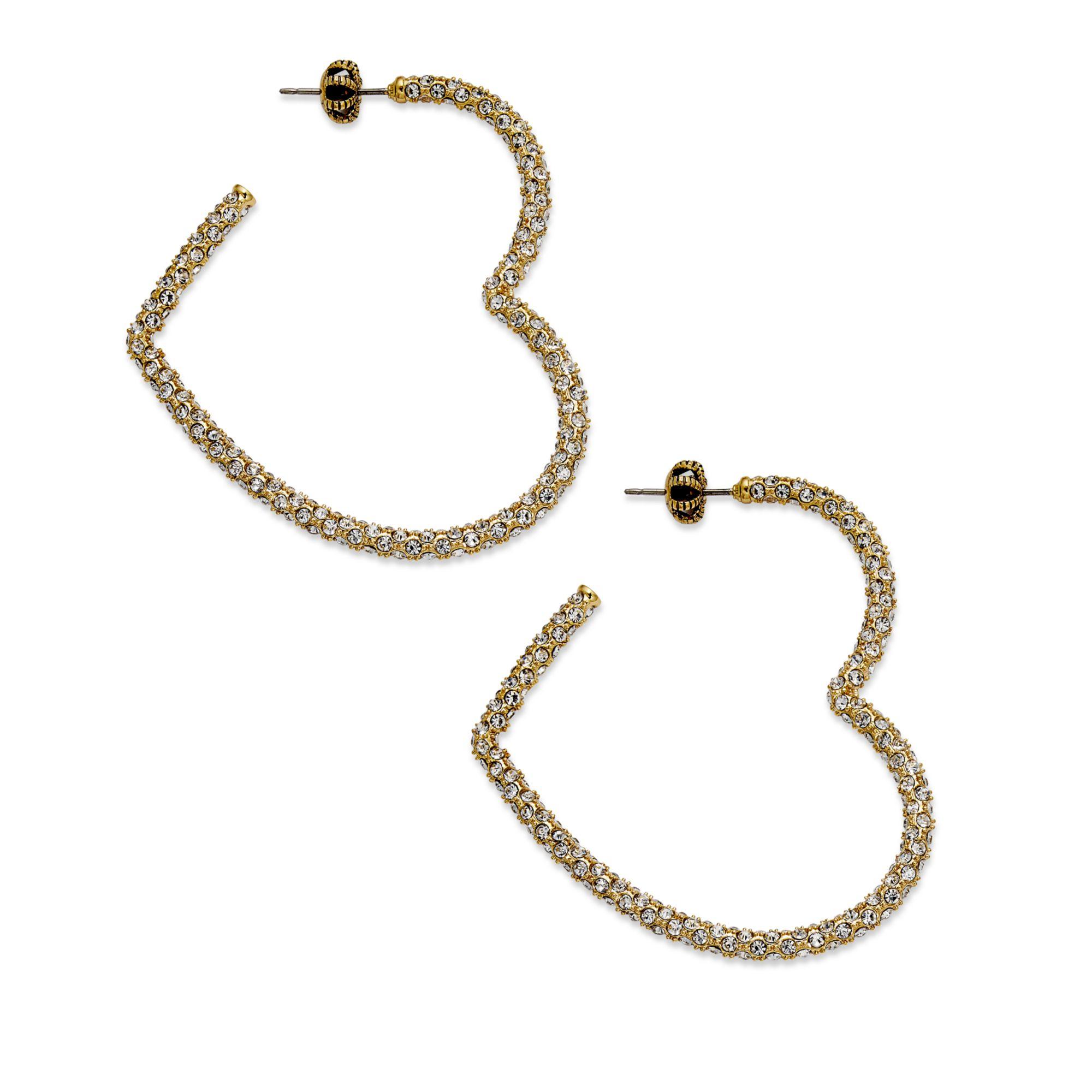 juicy couture goldtone pave heart hoop earrings in. Black Bedroom Furniture Sets. Home Design Ideas