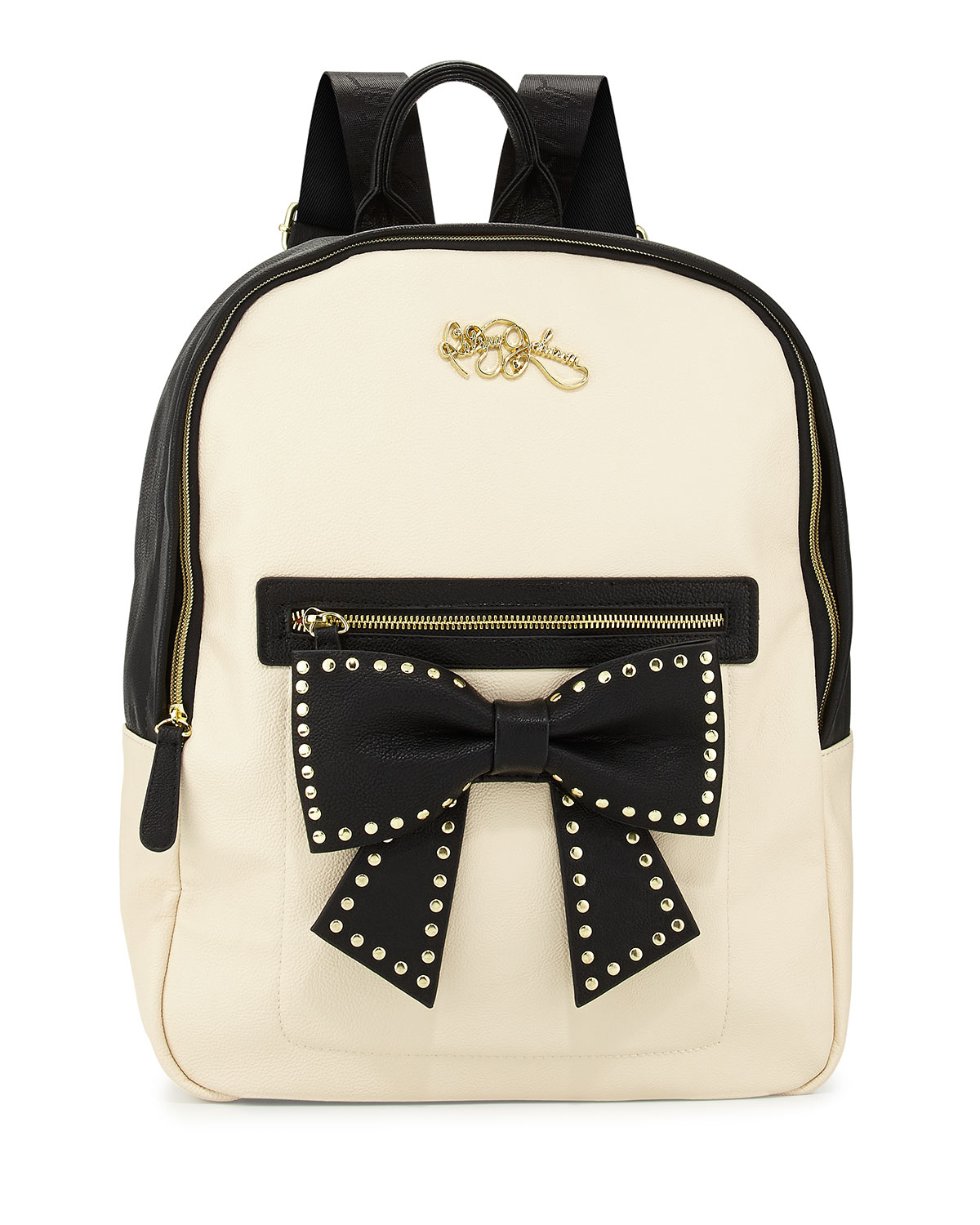 4b448fed6bdc Lyst - Betsey Johnson Colorblock Backpack with Bow in Natural