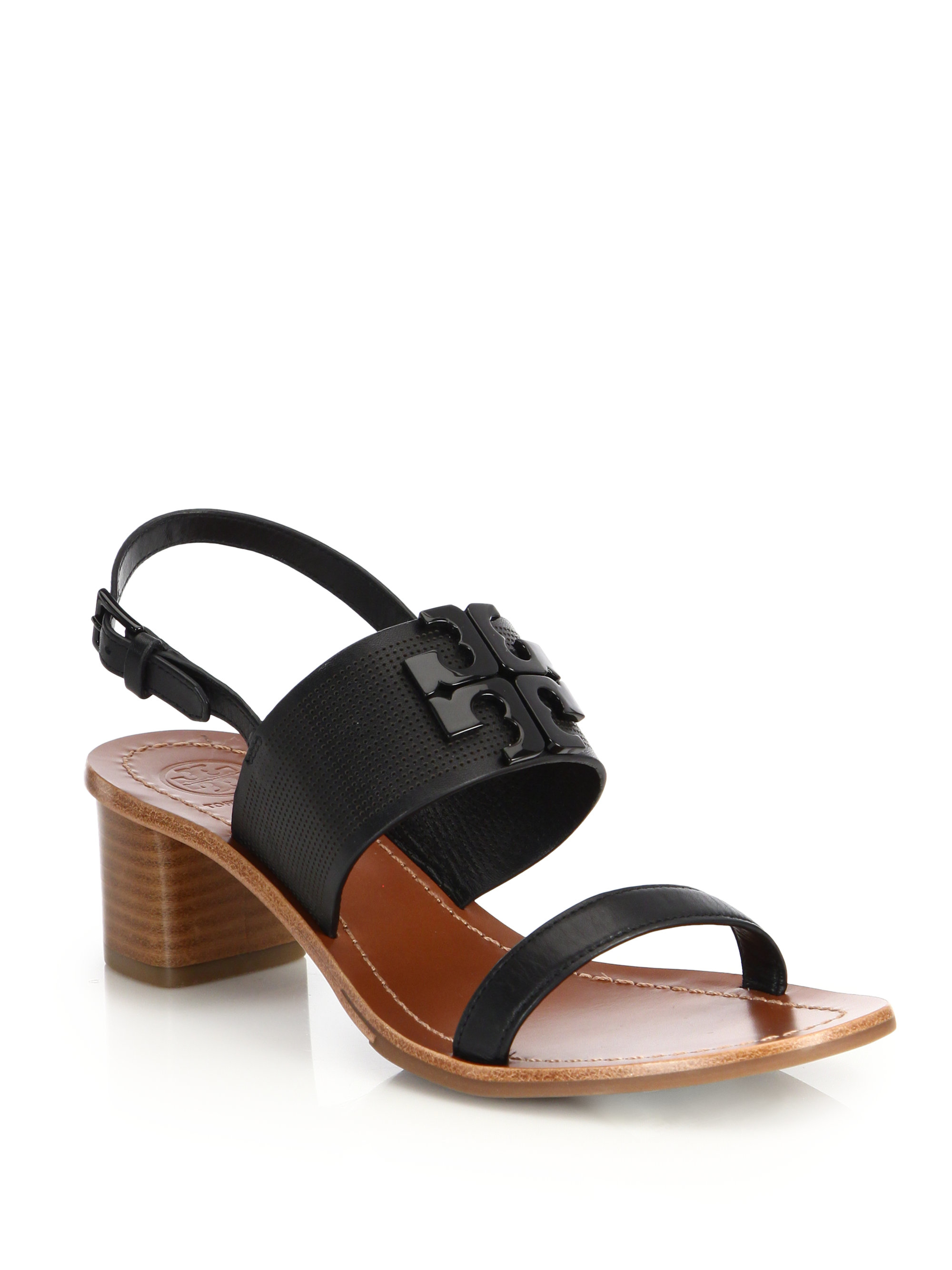 f40ad0aa5ab608 Lyst - Tory Burch Lowell Perforated Sandal in Black