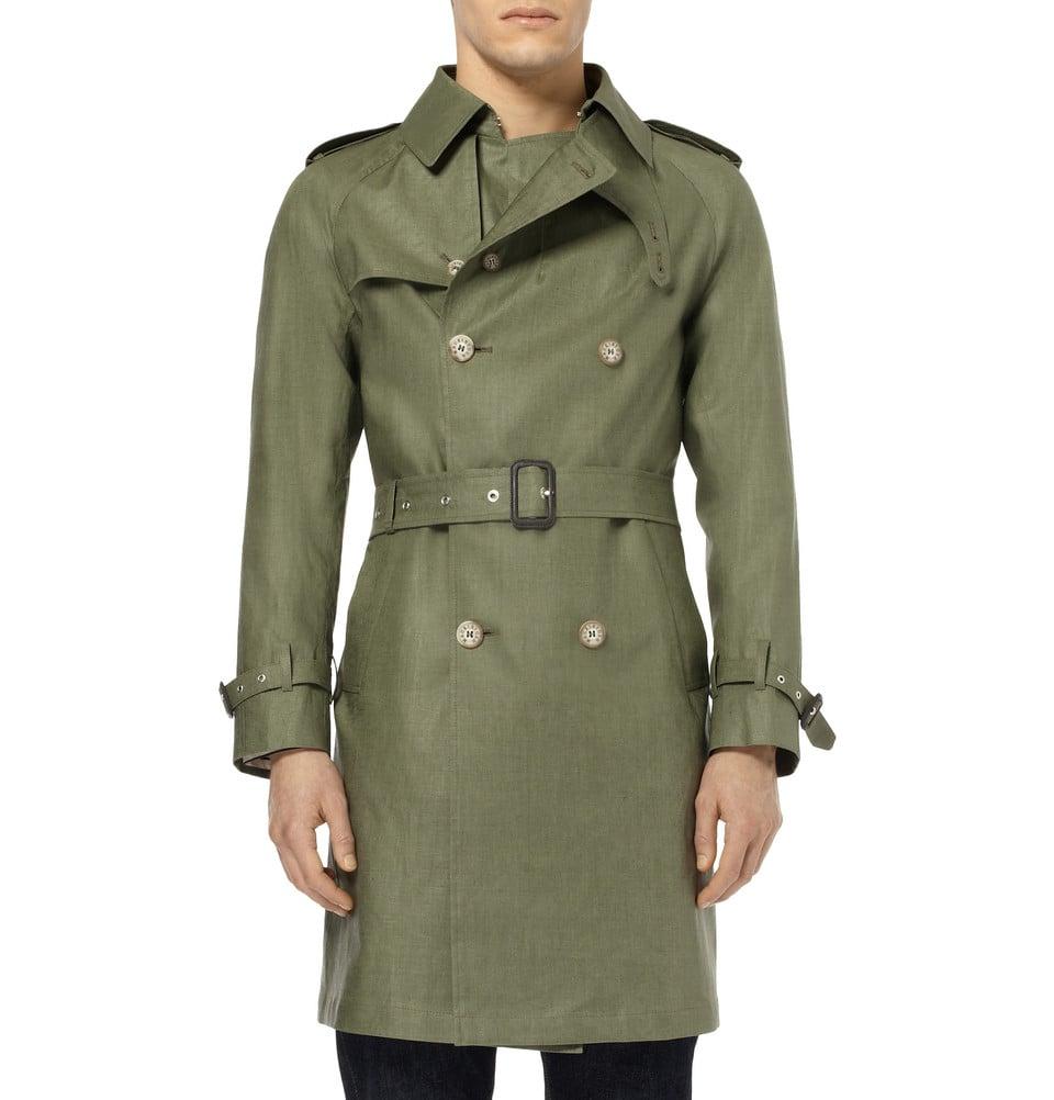 Lyst - Mackintosh Coated Linen Trench Coat in Green for Men