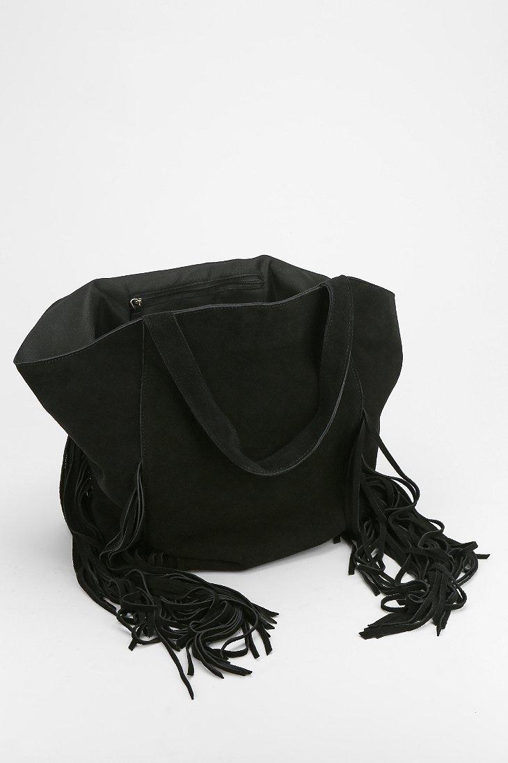 ecote cava suede fringe tote bag in black lyst