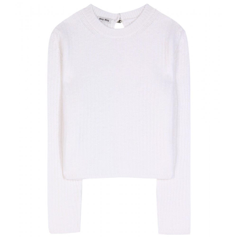 Miu miu Cropped Cashmere Sweater in White | Lyst