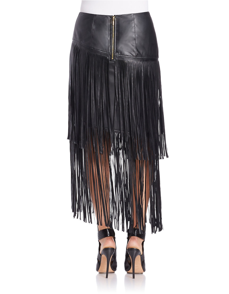 kensie fringed faux leather skirt in black lyst