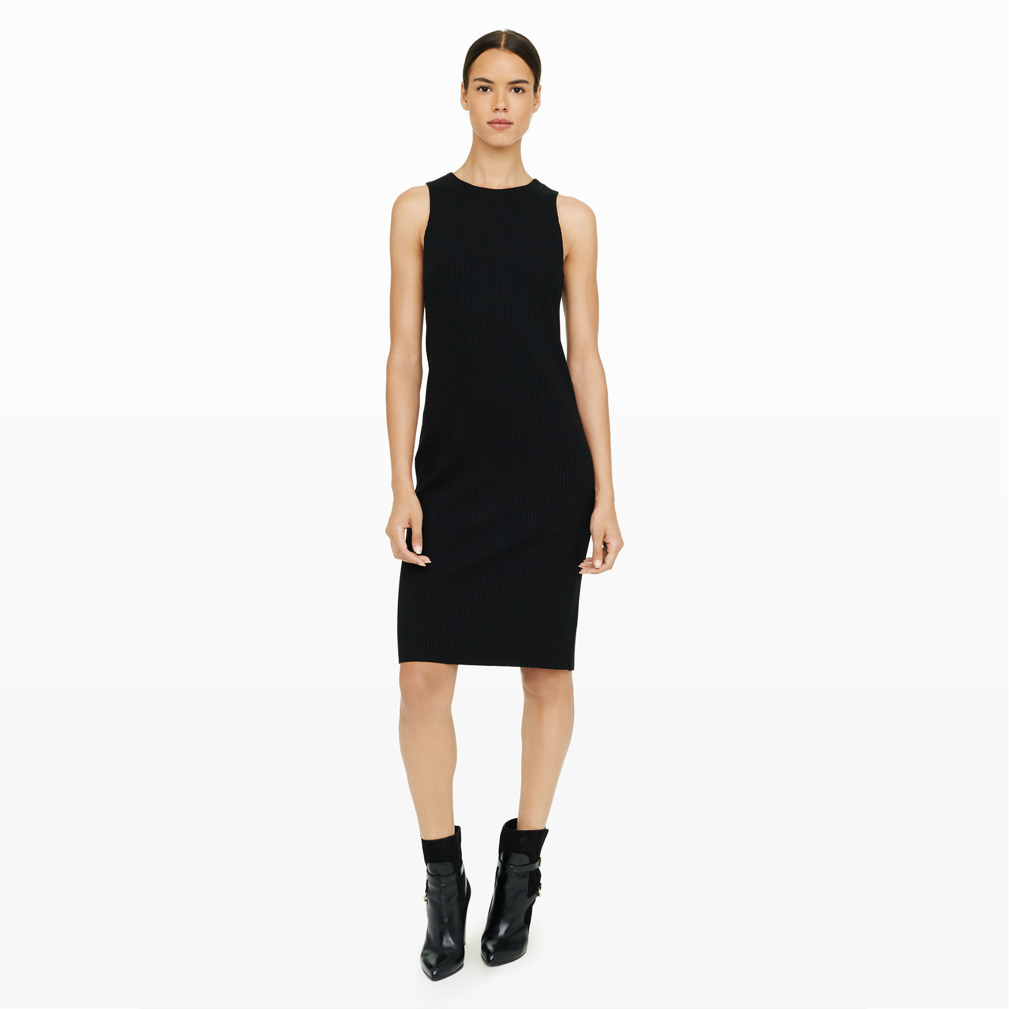 club monaco petrulia rib dress in black  lyst