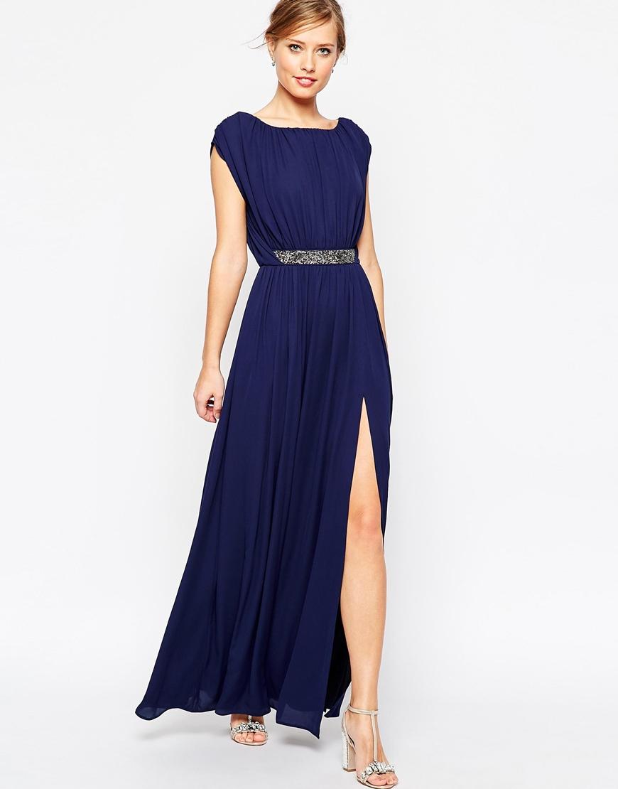 asos embellished waist maxi dress in blue navy lyst. Black Bedroom Furniture Sets. Home Design Ideas