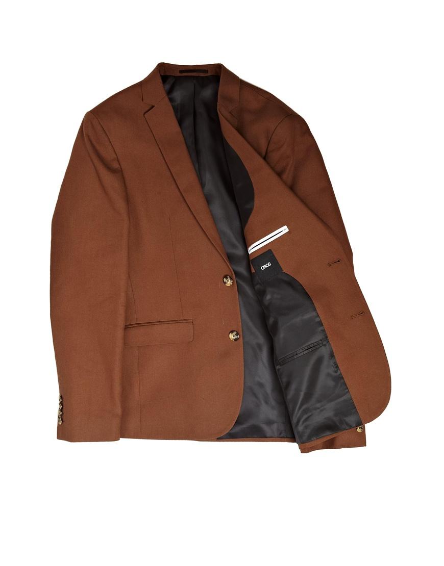 asos slim fit blazer in cotton in brown for men lyst. Black Bedroom Furniture Sets. Home Design Ideas