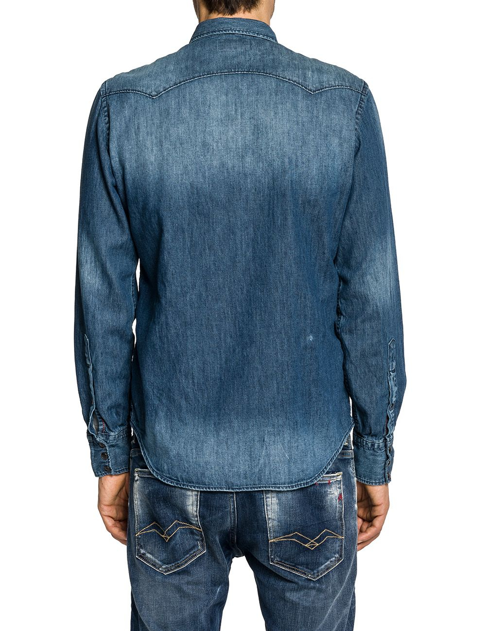 Replay Double Pocket Denim Shirt In Blue For Men Lyst