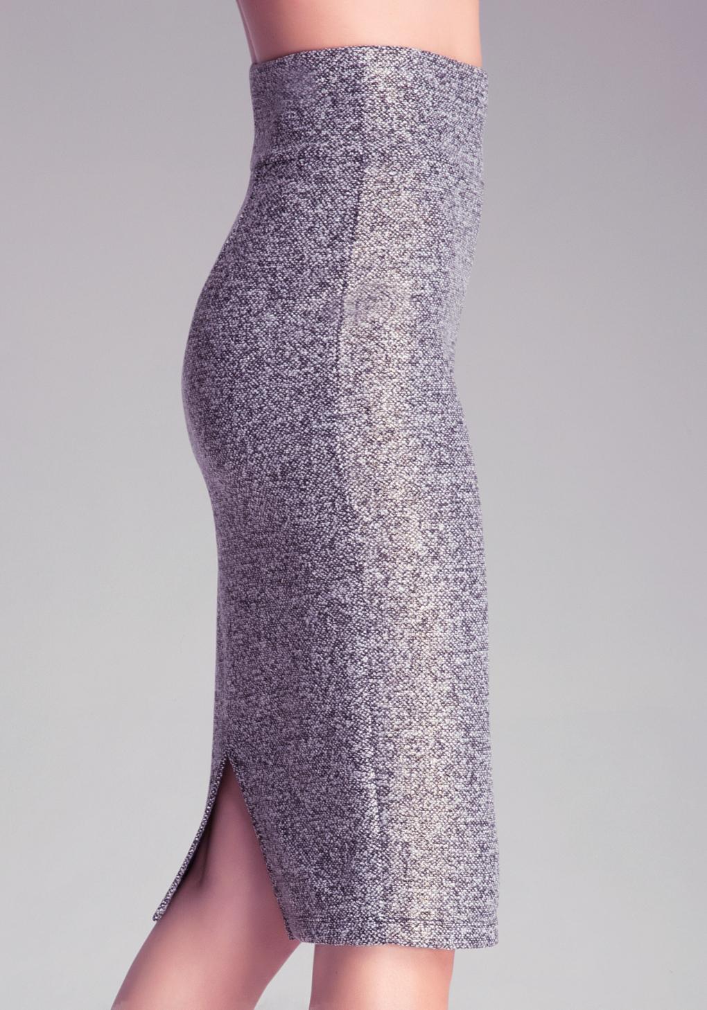 614f762fcd Bebe Tweed Zip Midi Skirt in Gray - Lyst