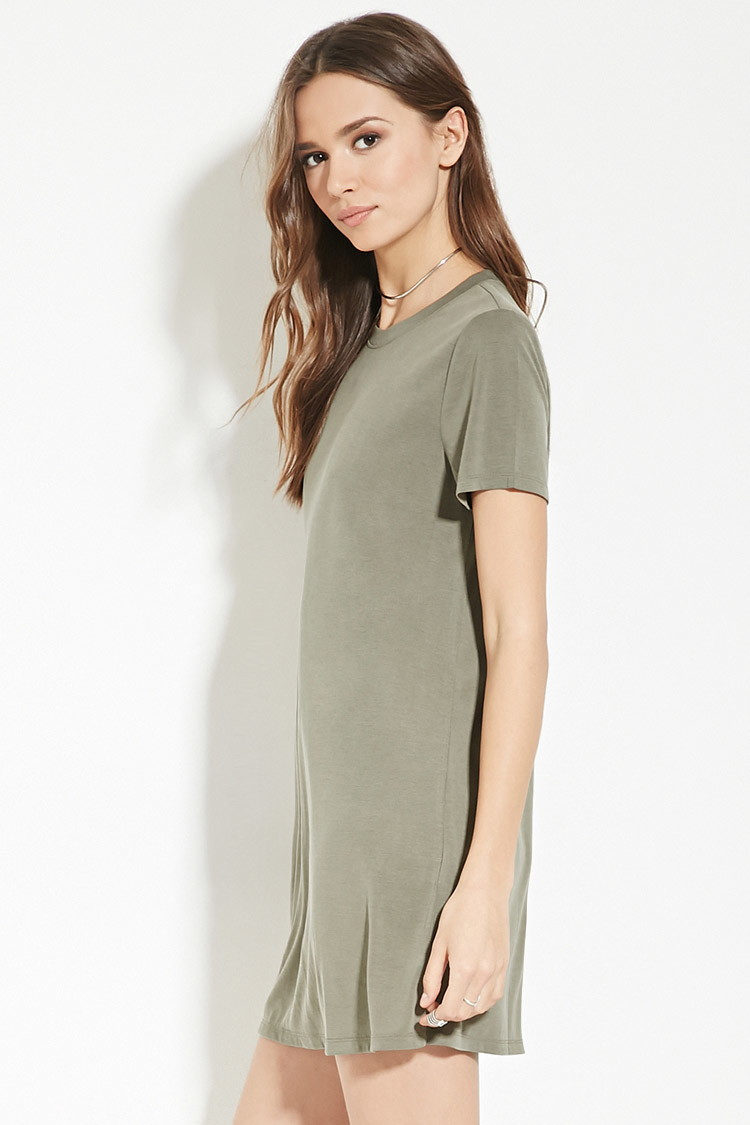 6497768e2490 Lyst - Forever 21 Contemporary T-shirt Dress in Green