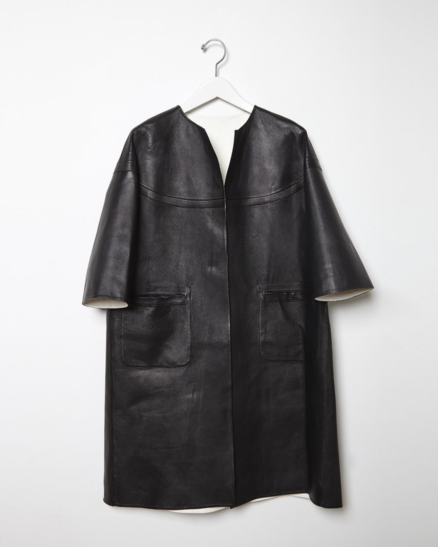 Marni Leather Duster Coat In Black Lyst