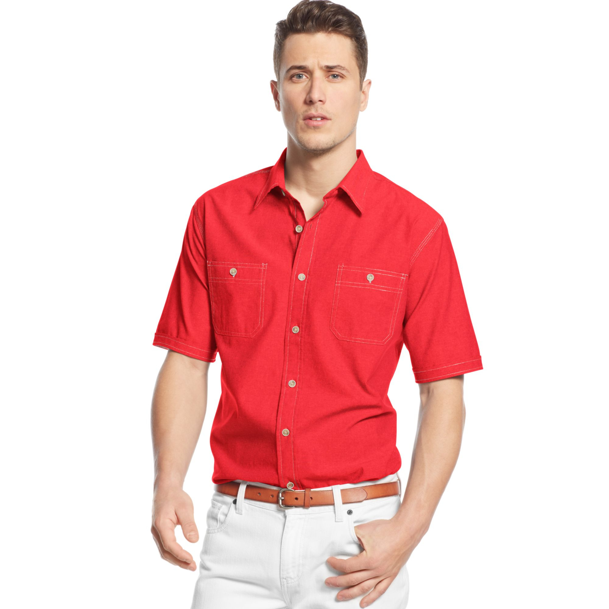 Lyst weatherproof vintage chambray shirt in red for men for Weatherproof vintage men s lightweight flannel shirt