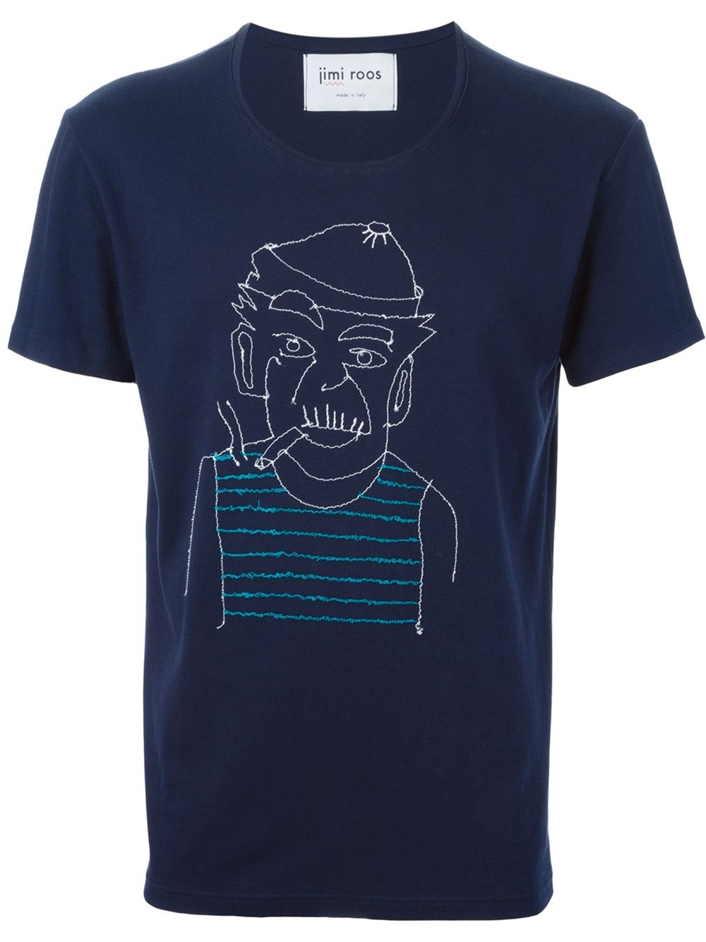 Jimi Roos Portrait Embroidery T Shirt In Blue For Men Lyst