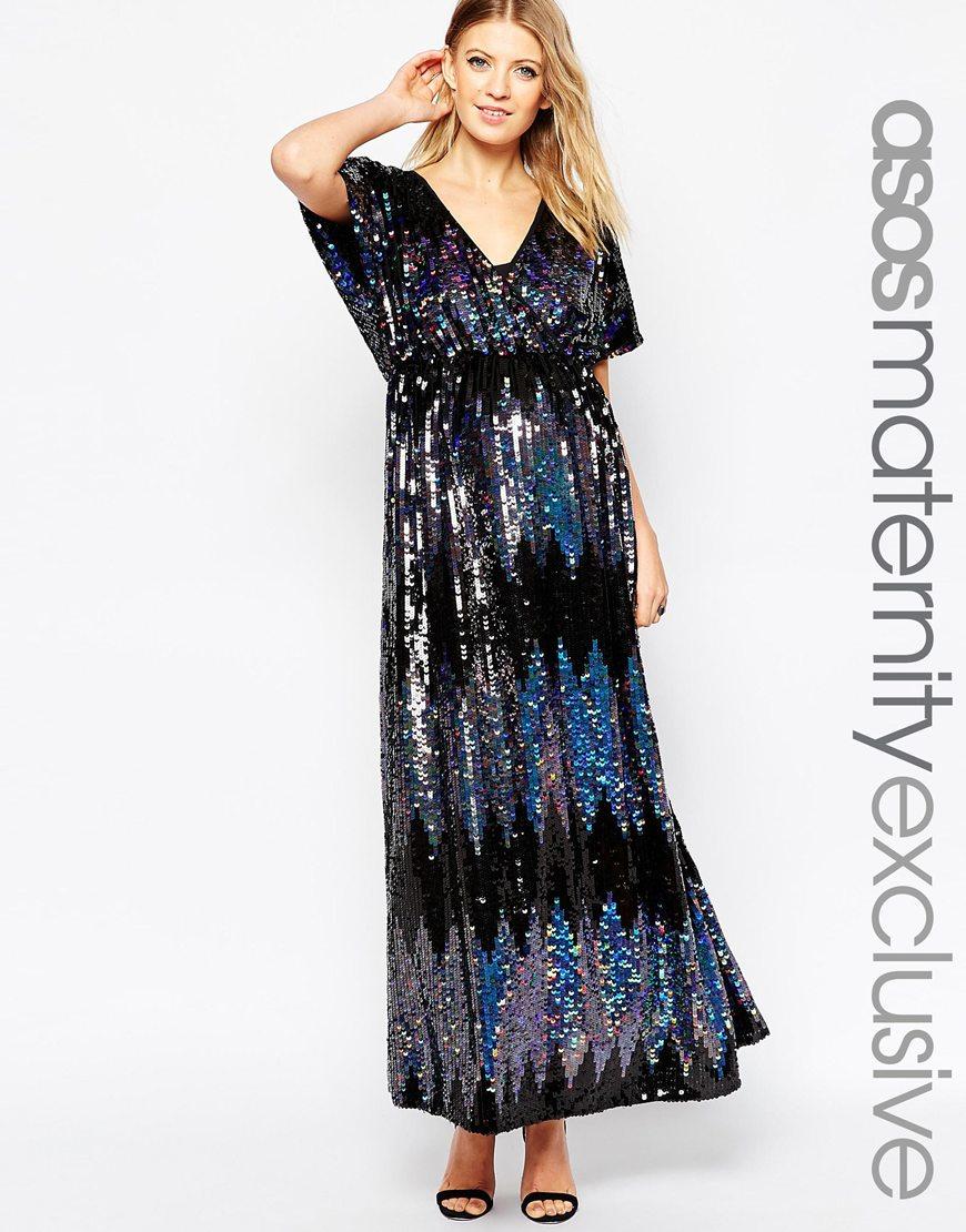 b229928d39bb4 ASOS Maternity Sequin Kimono Maxi Dress in Black - Lyst