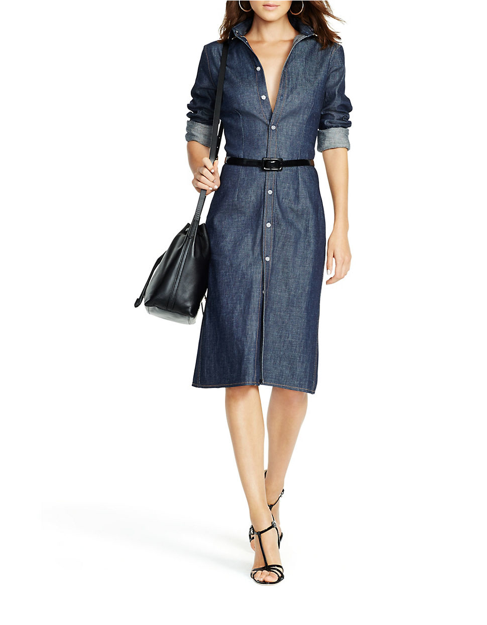 Lyst polo ralph lauren denim button down shirtdress in blue for Robe chemise ralph lauren